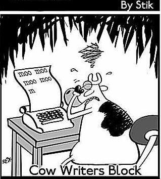 cow writers block